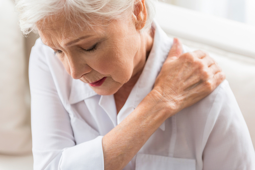 Senior woman with shoulder arthritis